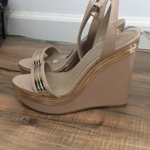 Nude rose gold shoes